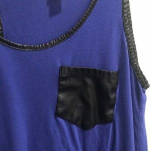 Xhilaration Tops - Blue Tank Top with Leather Pocket and Accents